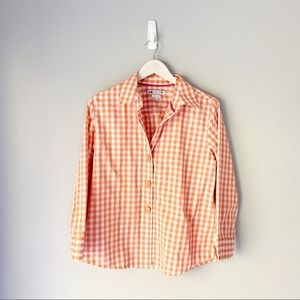 Foxcroft orange gingham 3 button blouse